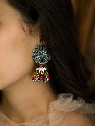 Multicolored Dual Tone Silver Jhumki Earrings