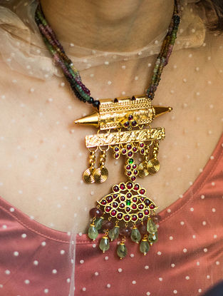 Maroon Green Gold Plated Temple Silver Necklace