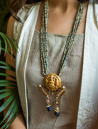 Maroon Blue Gold Plated Temple Silver Necklace