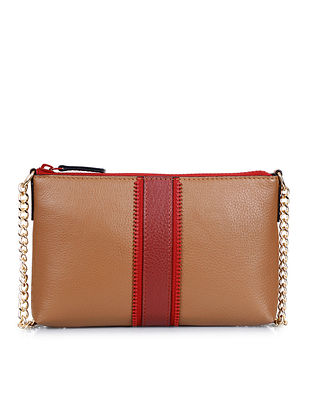Tan Red Genuine Leather Sling Bag