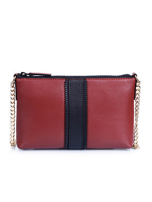 Red Black Genuine Leather Sling Bag