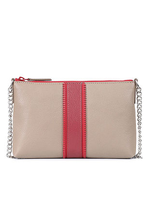 Grey Red Genuine Leather Sling Bag