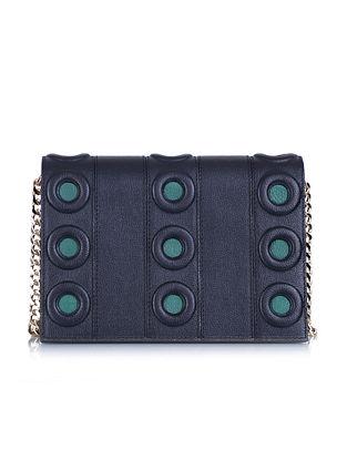 Black Green Genuine Leather Sling Bag