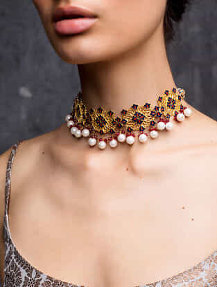 Red Blue Gold Plated Enameled Choker Necklace