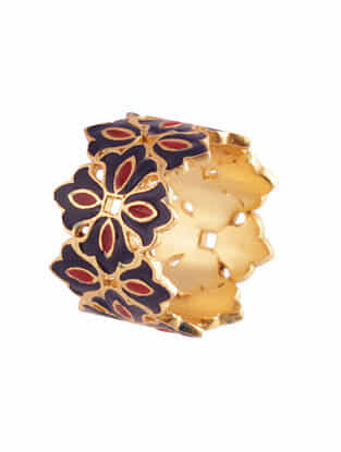 Red Blue Gold Plated Enameled Ring