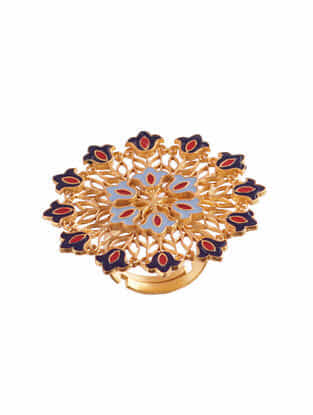 Red Blue Gold Plated Enameled Adjustable Ring