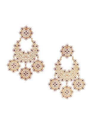 Black White Gold Plated Enameled Earrings