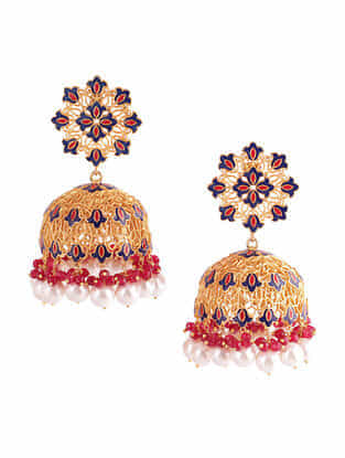 Red Blue Gold Plated Enameled Jhumkis with Pearls