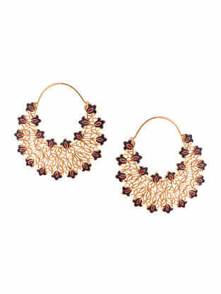 Red Blue Gold Plated Enameled Hoops