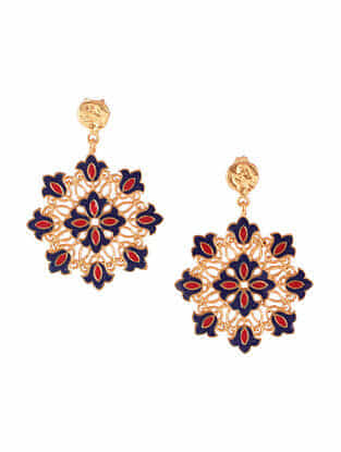 Red Blue Gold Plated Enameled Earrings