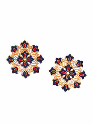 Red Blue Gold Plated Enameled Studs