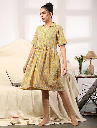 Yellow Striped Hand Block Printed Cotton Dress