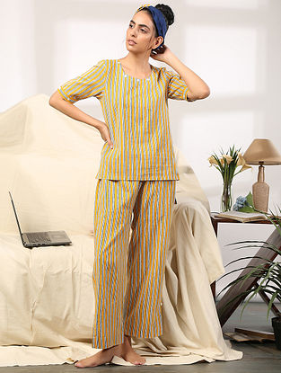 Yellow Striped Hand Block Printed Cotton Top with Pants (Set of 2)