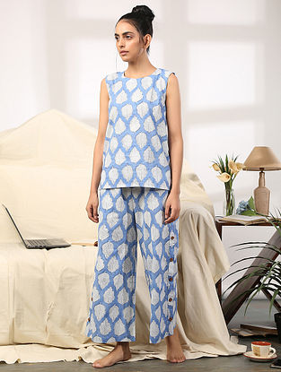 Blue Leaf Hand Block Printed Cotton Top with Pants (Set of 2)