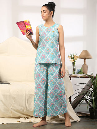 Pastel Blue Floral Hand Block Printed Cotton Top with Pants (Set of 2)