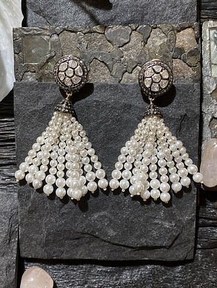 Polki Silver Earrings with Pearls