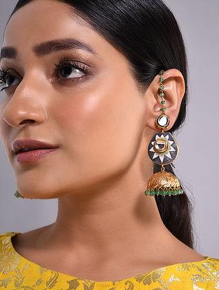 Grey Green Gold Tone Kundan Enameled Jhumki Earrings With Ear Chains