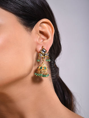 Green Gold Tone Kundan Jhumki Earrings