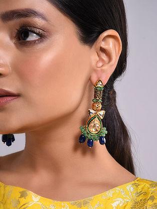 Blue Green Gold Tone Kundan Earrings