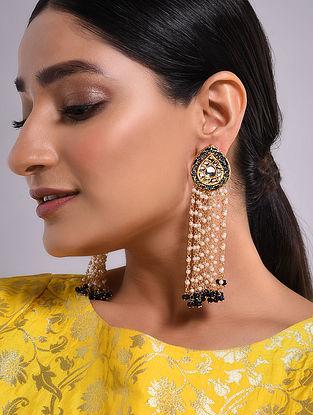Blue Gold Tone Kundan Beaded Earrings