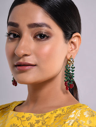 Green Red Gold Tone Kundan Beaded Earrings