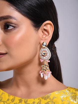 Grey Pink Gold Tone Kundan Enameled Earrings