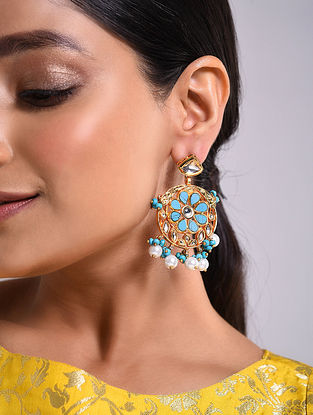 Turquoise Gold Tone Kundan Earrings With Pearls