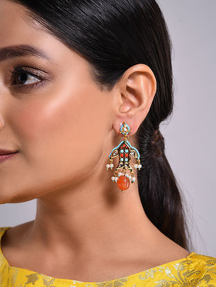 Turquoise Orange Gold Tone Kundan Earrings