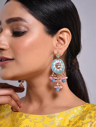 Turquoise Pink Gold Tone Kundan Enameled Earrings
