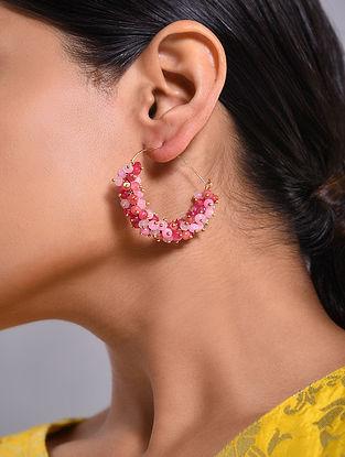 Pink Gold Tone Handcrafted Hoop Earrings