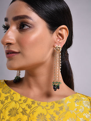 Purple Green Gold Tone Kundan Beaded Earrings