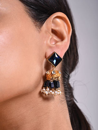 Blue Gold Tone Kundan Jhumki Earrings