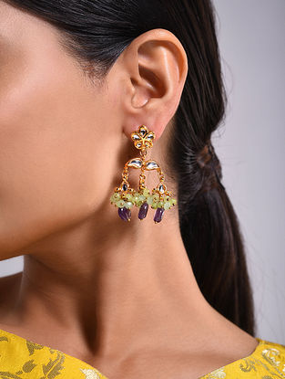 Purple Green Gold Tone Kundan Earrings