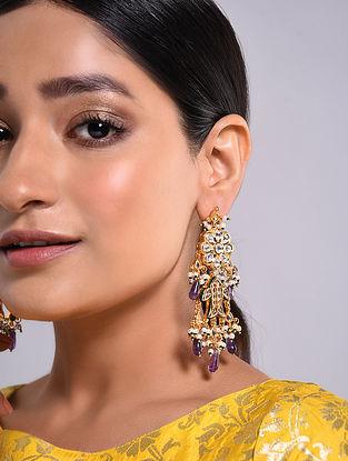 Purple Gold Tone Kundan Earrings