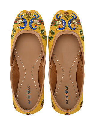 Mustard Hand Embroidered Faux Leather Juttis