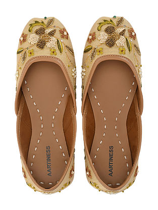 Gold Hand Embroidered Faux Leather Juttis