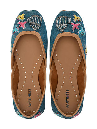 Blue Hand Embroidered Faux Leather Juttis