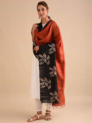 Red-Black Block Printed Silk Dupatta