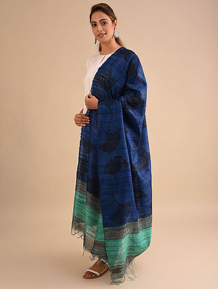 Blue-Green Block Printed Silk Dupatta
