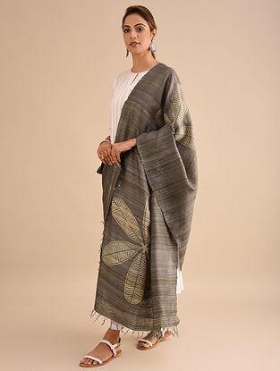 Grey-Ivory Block Printed Silk Dupatta