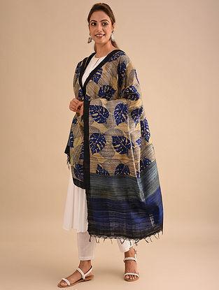 Beige-Blue Block Printed Silk Dupatta