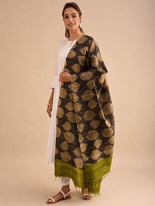 Brown-Beige Block Printed Silk Dupatta