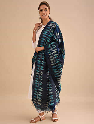 Blue Block Printed Silk Dupatta
