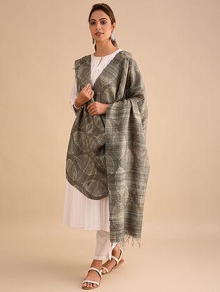 Grey Block Printed Silk Dupatta