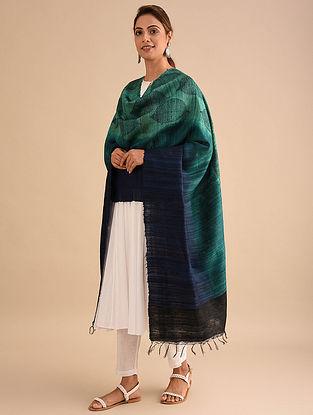 Green-Blue Block Printed Silk Dupatta