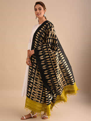 Black-Beige Block Printed Silk Dupatta