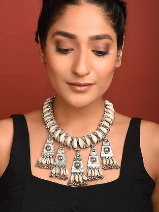Silver Tone Tribal Necklace With Shells