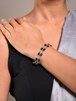 Blue Handcrafted Silver Bracelet