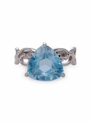 Blue Classic Silver Ring (Ring Size: 8)
