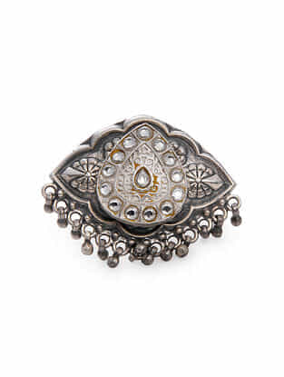Tribal Silver Kundan Adjustable Ring